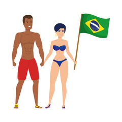 couple with swimsuit waving brazilian flag