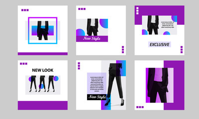 Square modern futuristic banner template pack. Minimal purple vibrant duotone in white background.  For social media post, internet web banner, flyer, poster and catalog in cosmetic, beauty, fashion