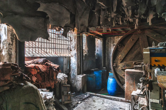 leather factory in the dharavi slum in bombay india