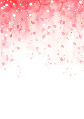 Abstract pink blossom petal watercolor hand painting on white background for decoration on Valentine's day and wedding events.