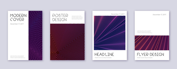 Minimal brochure design template set. Violet abstr