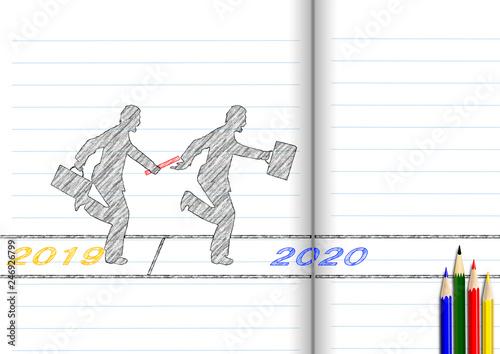 2019年から2020年へバトンパスを行うビジネスマンfotoliacom の