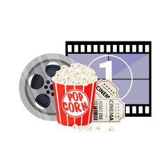 Movie time illustration. Cinema poster concept on red round background. Composition with popcorn, clapperboard, 3d glasses and filmstrip.