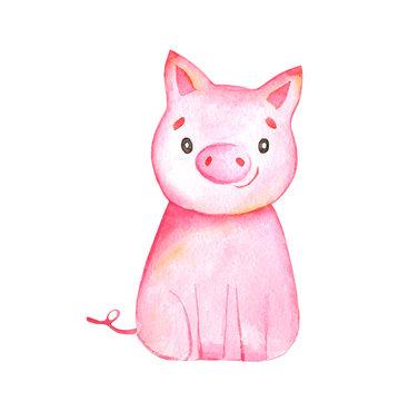 little cute cartoon pig - watercolor illustration