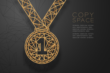 Medal number one shape shape wireframe polygon golden frame structure, Sport winner concept design illustration isolated on black gradient background with copy space, vector eps 10