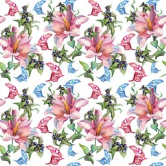lilies watercolor seamless pattern with butterfly