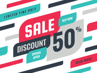 Sale - discount 50% concept banner vector illustration. Special offer creative geometric promotion layout. Buy now. Abstract composition. Graphic design sticker.