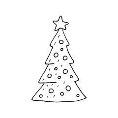 Cute cartoon hand drawn christmas tree drawing. Sweet vector black and white christmas tree drawing. Isolated monochrome doodle christmas tree drawing on white background.