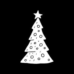Cute cartoon hand drawn christmas tree icon. Sweet vector black and white christmas tree icon. Isolated monochrome doodle christmas tree icon on black background.