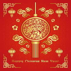 Happy chinese new year Greeting Card. Vector Illustration for Year of the pig banner.