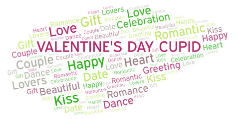 Valentine's Day Cupid word cloud.
