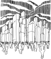 hand drawn architectural sketch of a modern architecture with high towers and lots of people
