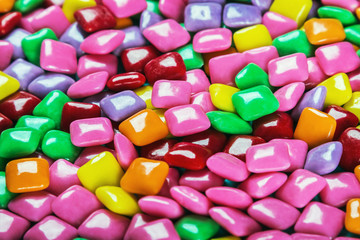 chewing gum with different color background. Sweets and sweets