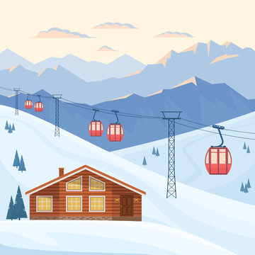 Ski resort with red ski cabin lift on cableway, house, chalet, winter mountain evening and morning landscape, snowy peaks and slopes. Vector flat illustration.