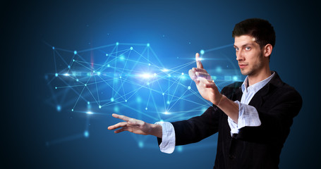 Man touching hologram screen displaying modern web system