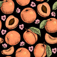 Apricots and flowers. Vector seamless pattern. Vintage style