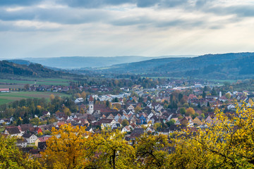 Germany, Beautiful houses of rudersberg city from above