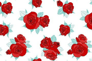 Beautiful floral pattern. Red roses on white background.