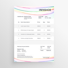 minimal invoice template with colorful wave lines