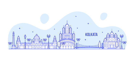 Kolkata skyline West Bengal India city line vector Papier Peint