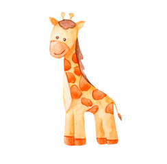 cute watercolor giraffe. african animal illustration