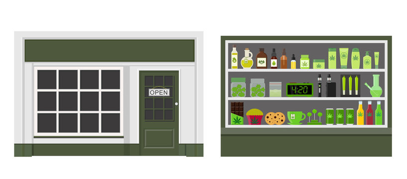 Marijuana store. Marijuana equipment and accessories for smoking, storing medical cannabis. Cannabis products. Marijuana Legalization. Isolated vector illustration.