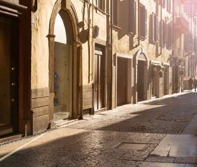 Narrow street in Verona, Italy. Architecture and landmark, Cozy italian cityscape