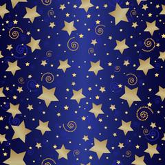 Seamless dark blue pattern with golden stars