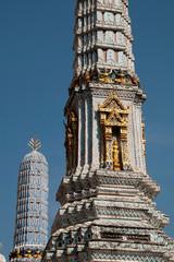 Bangkok Thailand, spires of the blue chedi at the grand palace