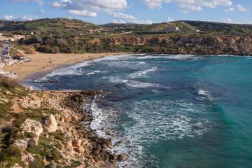 Malta sea. Beautiful winter island Malta view