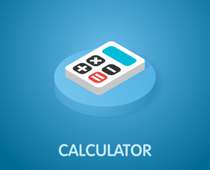 Calculator isometric icon. Vector illustration. 3d concept