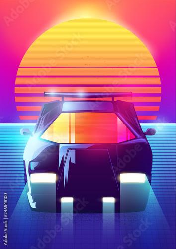 80s Retro Sci-Fi Background  Vector retro futuristic synth