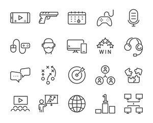 set of e-sports icons ,such as game, player, proplayer, contest, play, team, planning