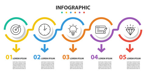 infographic 5 step presentation, infographic linear circle