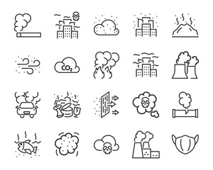 Fototapeta set of air pollution icons, such as, smoke, dust, gas, industry, pm 2.5