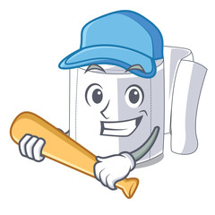 Playing baseball cartoon toilet paper in the bathroom