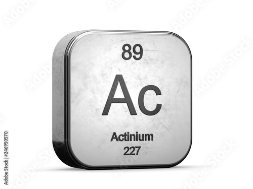 Actinium element from the periodic table series  Metallic