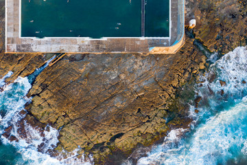 Aerial view of Newcastle Baths famous landmark in Newcastle NSW Australia