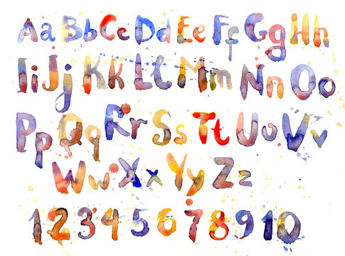English alphabet, numbers and letters in watercolor, set