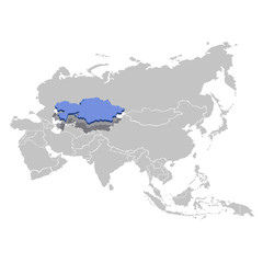 Vector illustration of Kazakhstan in blue on the grey model of Asia map.