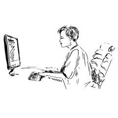 Woman working on computer, hand drawn doodle, sketch, black and white vector illustration