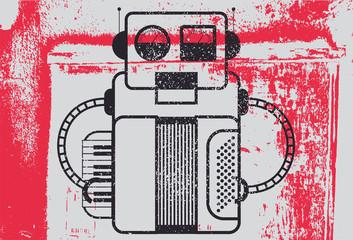 Typographic grunge poster design with retro robot musician. Vector illustration.