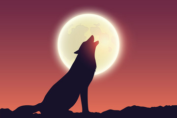 wolf howls at full moon silhouette vector illustration EPS10