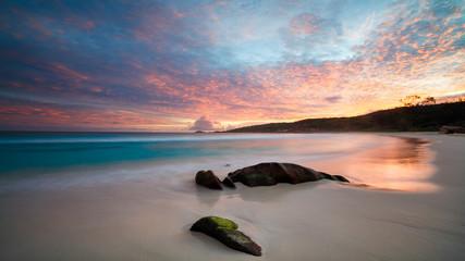 Art Beautiful sunset over the tropical beach