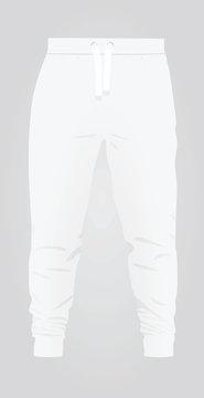 White tracksuit bottom. vector illustration