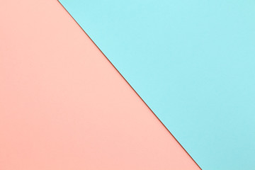 Abstract geometric water color paper background in soft pastel pink and blue trend colors with...