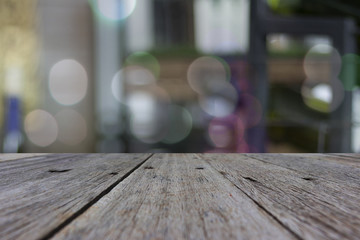 close up top Wood table with blurred background, space for placing things on the table