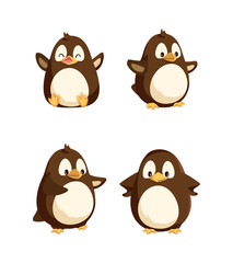 Penguins showing emotions animal isolated icons set vector. Seabirds with happy faces, gesturing and walking, funny wildlife, emotional characters