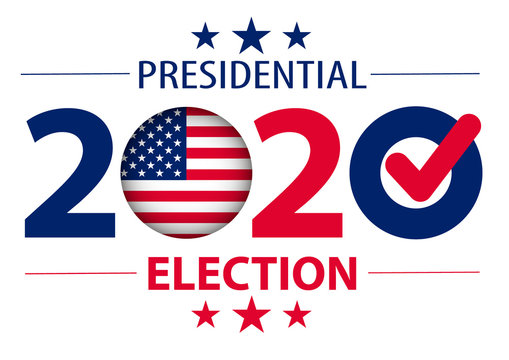 2020 United States of America Presidential Election banner. Election banner Vote 2020 with Patriotic Stars.