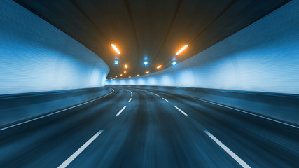 Travel through the illuminated tunnel with motion blur 3D rendering